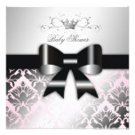 311-Damask Shimmer Black Bow Pink Baby Shower Personalised Invites