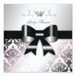311-Damask Shimmer Black Bow Pink Baby Shower Personalised Invites