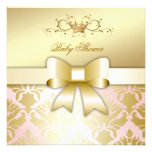 311 Damask Shimmer Bow Champagne Pink Baby Shower Announcements
