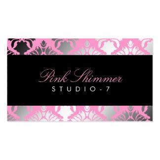 311 Damask Shimmer Pink Plush Black BowCertificate Business Cards