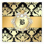 "311 Damask Shimmer Queen Fab 50 Black 5.25"" Square Invitation Card"
