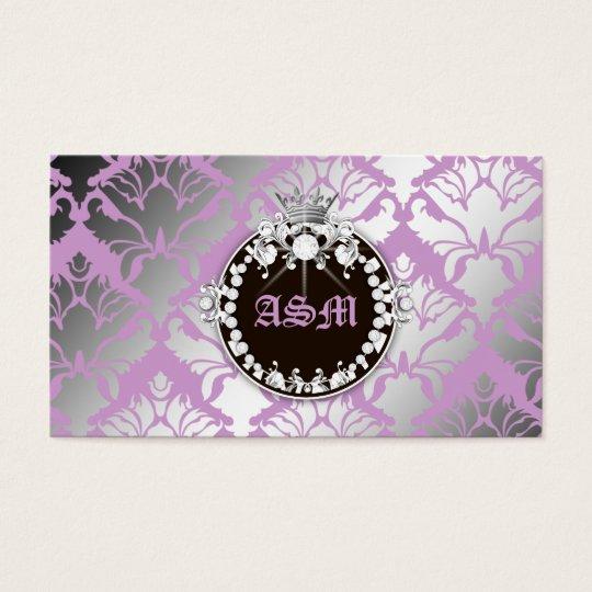 311-Damask Shimmer Queen Purple - Brown Medallion Business Card