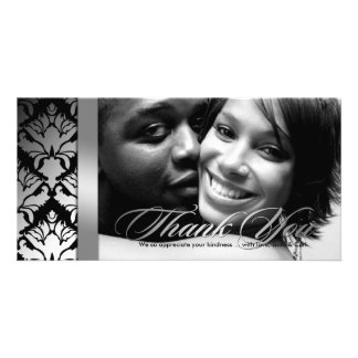 311-Damask Shimmer Thank You Silver Black Personalized Photo Card