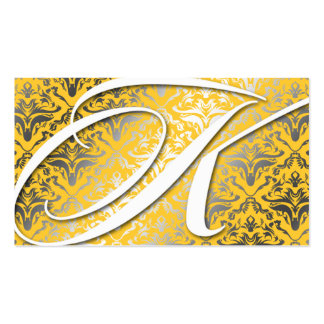 311-Dazzle Me Damask - K Monogram Yellow Business Card Templates