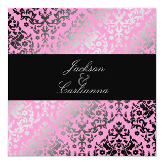 311-Dazzling Damask Flamingo 13 Cm X 13 Cm Square Invitation Card