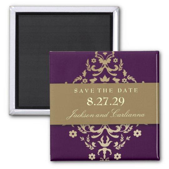 311-Dazzling Damask Gold Ivory Eggplant Square Magnet