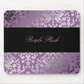 311-Dazzling Damask Purple Plush Mouse Mat