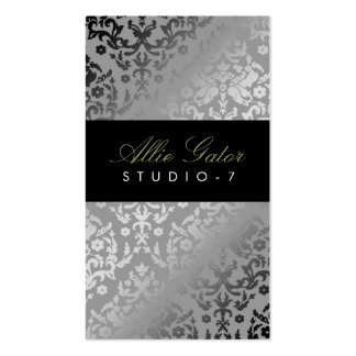 311 Dazzling Damask Silver Plain Back Pack Of Standard Business Cards