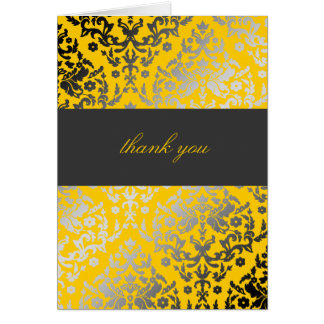311-Dazzling Damask Thank You Yellow Note Card