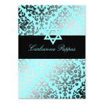 311 Dazzling Damask Turquoise Blue Star of David 13cm X 18cm Invitation Card