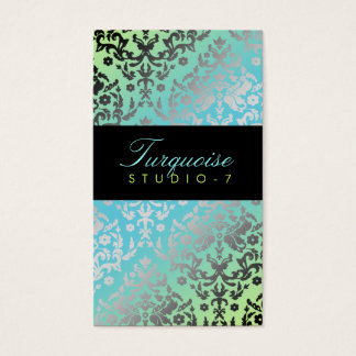 311 Dazzling Damask Turquoise Lime Black Business Card