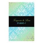 311 Dazzling Damask Turquoise & Lime Black Flyer Design