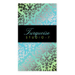 311 Dazzling Damask Turquoise Lime Black Pack Of Standard Business Cards