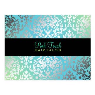 311 Dazzling Damask Turquoise & Lime Black Postcard
