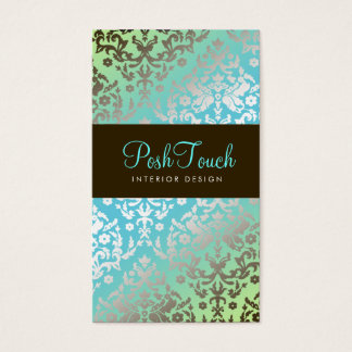 311 Dazzling Damask Turquoise & Lime Business Card