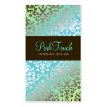 311 Dazzling Damask Turquoise & Lime Business Cards