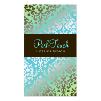 311 Dazzling Damask Turquoise & Lime Pack Of Standard Business Cards