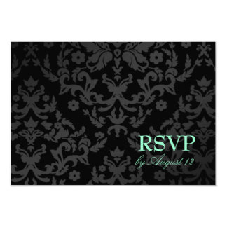 311 Dazzling Damask Turquoise RSVP Small Card 9 Cm X 13 Cm Invitation Card