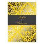 311 Dazzling Damask Yellow   Charcoal Grey Band Card