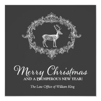 311 Deer Wreath Charcoal Grey 13 Cm X 13 Cm Square Invitation Card