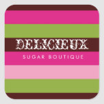 311 Delicieux Candy Stripes Square Square Stickers