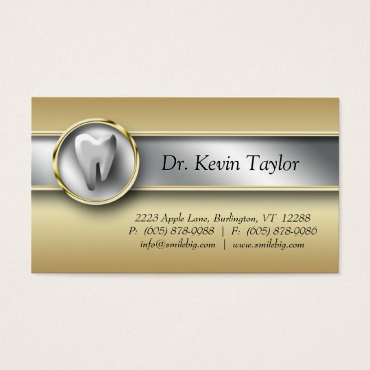 311 Dental Molar Business Card Gold Metalic Silver