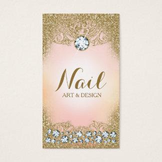 311 Diamond Vintage Glam Gold Glitter Pink Business Card