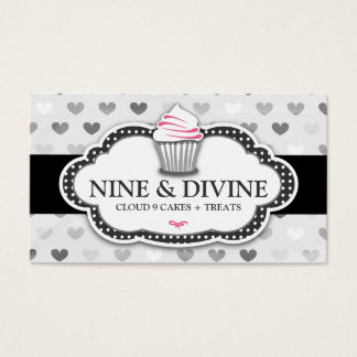 311 Divine Gray Hearts Cupcake Business Card
