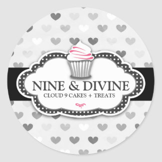 311 Divine Gray Hearts Cupcake Sticker