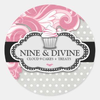311 Divine Pink Swirl Polka Dot Cupcakes Round Sticker