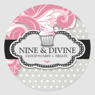 311 Divine Pink Swirl Polka Dot Cupcakes Stickers