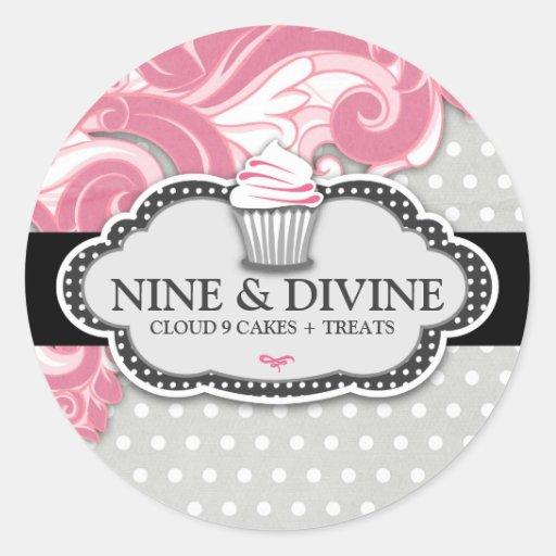 311 Divine Pink Swirl Polka Dot Cupcakes Stickers