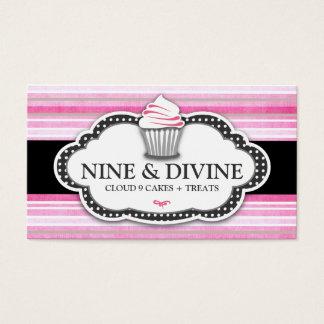 311 Divine Vintage Pink Stripes Cupcake Business Card
