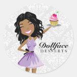 311 Dollface Desserts Ebonie Damask Round Sticker