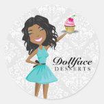 311 Dollface Desserts Ebonie Gift Box Blue Damask Round Sticker