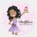 311 Dollface Desserts Ebonie Pink Damask Round Sticker