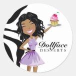 311 Dollface Desserts Ebonie Zebra Round Sticker