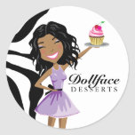 311 Dollface Desserts Ebonie Zebra Classic Round Sticker