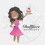 311 Dollface Desserts Hot Pink Ebonie Damask Round Sticker