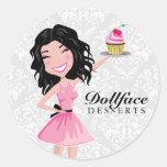 311 Dollface Desserts Kohlie Damask Round Sticker