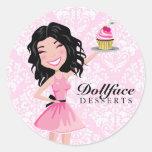 311 Dollface Desserts Kohlie Pink Damask Round Sticker