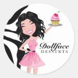 311 Dollface Desserts Kohlie Zebra Round Sticker
