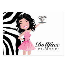 311 Dollface Diamonds Plus Kohlie Zebra 3.5 x 2 Business Card Template