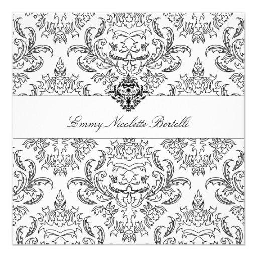 311-Emmy Black & White Damask Invitation