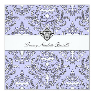"311-Emmy Perry Winkle Damask Invitation 5.25"" Square Invitation Card"