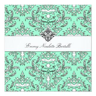 311-Emmy Sea Green Damask Invitation