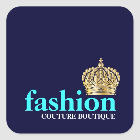 311 Fashionably Bold Tiara Navy Blue Square Sticker