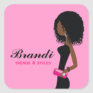 311 Fashionista African American Curly HairSticker Square Sticker
