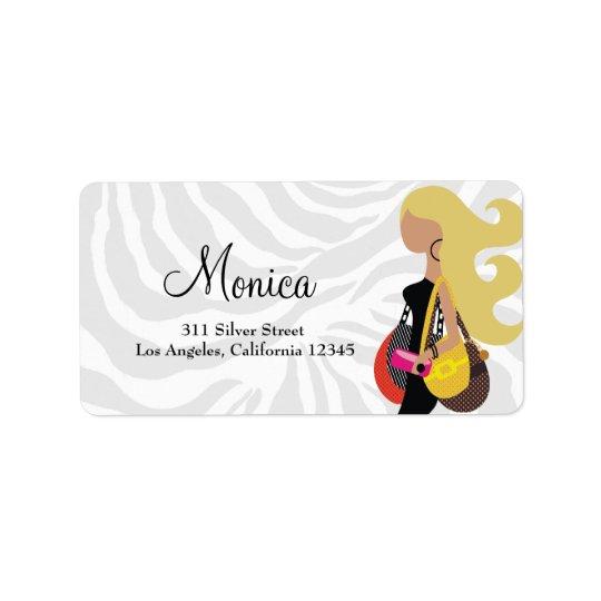 311 Fashionista Blonde Zebra Address Label