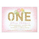 311 Faux Gold Glitter One First Birthday 5x7 Paper Invitation Card